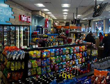 Delta Sonic's Convenience Store featuring drinks, snacks, soda, water, beer, energy drinks and made to order food